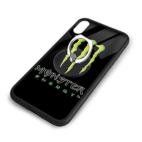 Monster Energy モンスターエナジー ロゴ 飲み料 IPhoneX XS スマホケース TPUバンパー+背面ガラス レンズ保護 Iphoneケース リング付き ワイヤレス充電対応 滑り防止 黄変防止 すり傷防止 超軽量高耐久アイフォンX/XS スマホケース