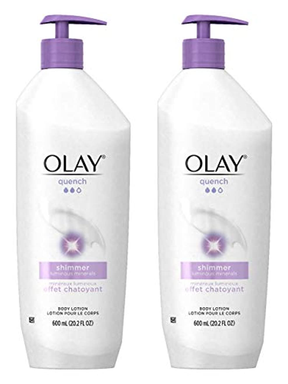 超越する歩くダッシュOlay Quench Daily Lotion Plus Shimmer Body Lotion 20.2 Fl Oz (Pack of 2) by Olay [並行輸入品]