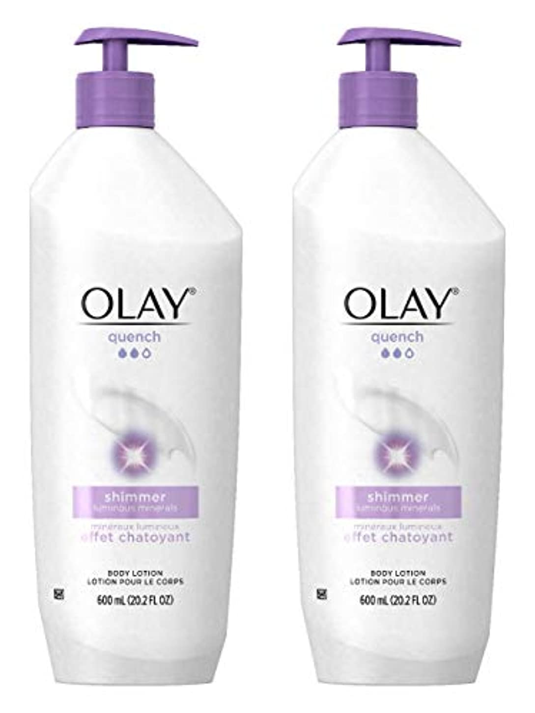 マイクロプロセッサ光沢のあるパートナーOlay Quench Daily Lotion Plus Shimmer Body Lotion 20.2 Fl Oz (Pack of 2) by Olay [並行輸入品]