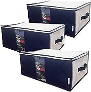 InikoLife 収納ケース 衣類 3枚組 収納ボックス 衣装ケース 洋服 収納袋 通気性に優れた不織布製(中芯無し) 活性炭シート入 上部ファスナー式で出し入れカンタン 持ち手 クリア窓付で持ち運びもしやすい 衣類や