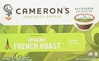 Camerons 100% Organic French Roast Single Serveダークロースト12カウントボックス