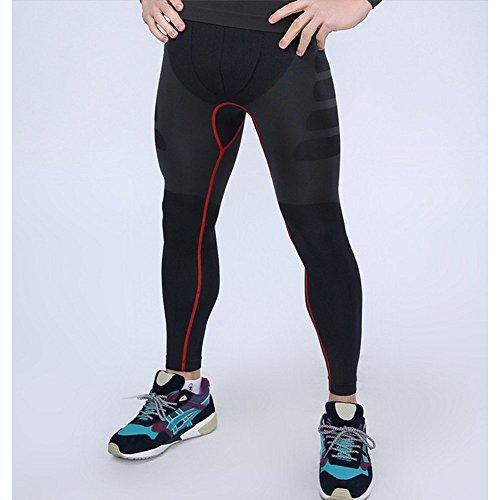 LeoSport フィットネス トレーニング 機能性 防臭インナー 加圧スパッツ 通気 基礎代謝 コンプレッションタイツ (M, グレー+レッド)