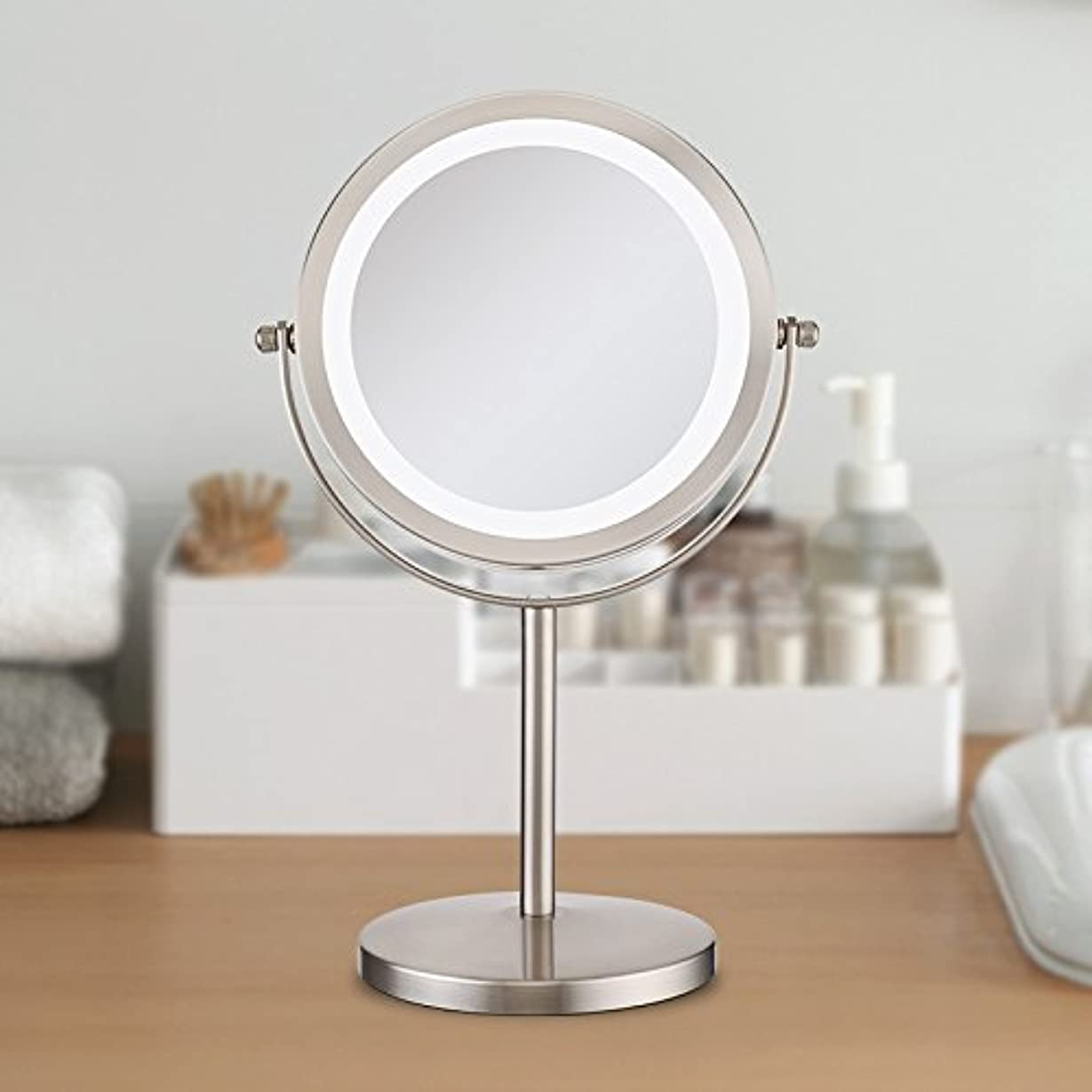 読むマラドロイト文芸(セーディコ)Cerdeco 真実の北欧風卓上鏡DX LEDライト付き 10倍拡大率 両面化粧鏡 真実の鏡DX スタンドミラー 鏡面φ178mm D710N