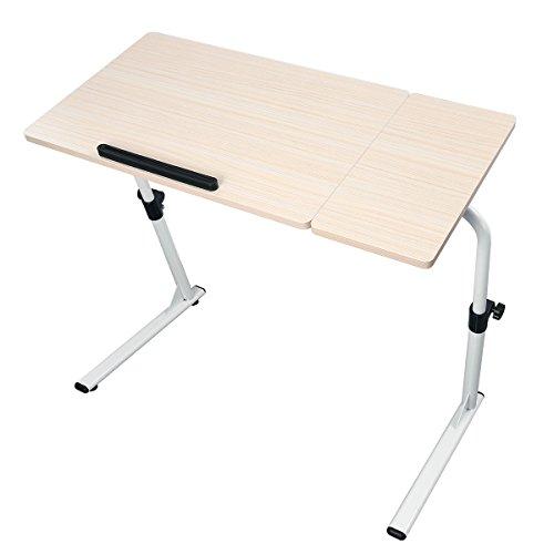 HOMEMAXS 昇降式 テーブル 角度・高さ無段階調節可能 折りたたみ式 サイドテーブル コ字型 省スペース 組立簡単 滑り止め付き ベッド ソファ オフィス 食事等様々対応に 木製