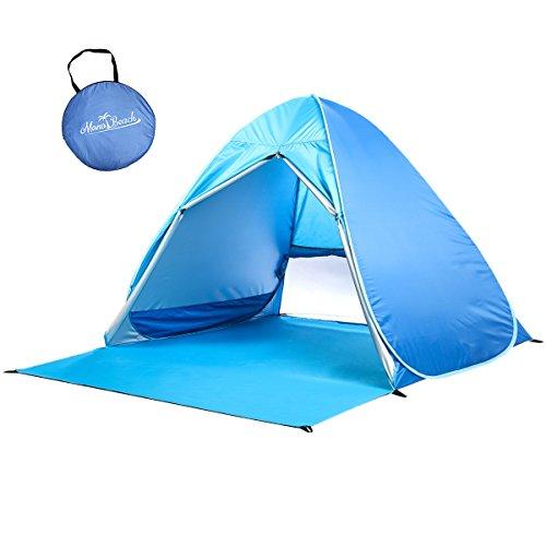 サンシェードテント MonoBeach 2-3人用 ワンタッチテント 軽量 防水 カーテン付き UVカット SPF50+日除けビーチテント アウトドア用品 (ブルー )