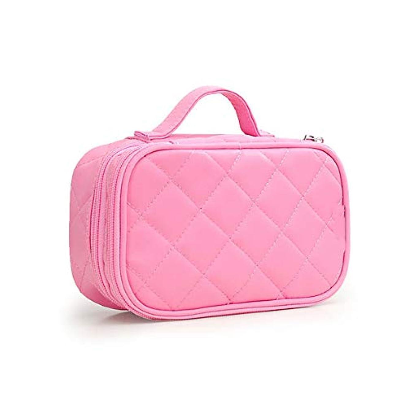 衝撃付き添い人すすり泣き化粧オーガナイザーバッグ 女性の化粧品バッグのポータブル韓国語バージョン創造的な ナイロン防水洗浄バッグ。 化粧品ケース (色 : ピンク)