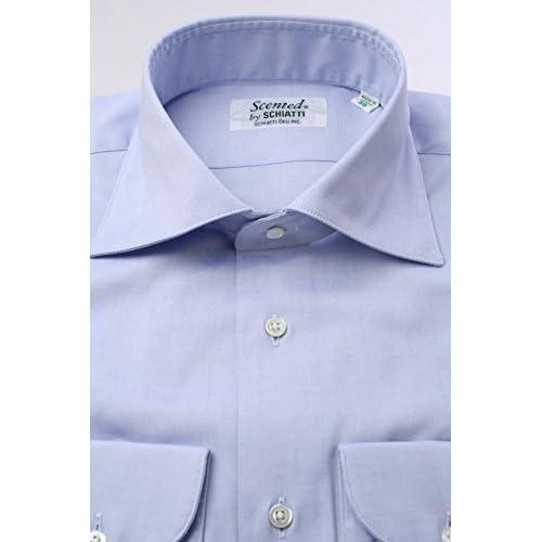 (スキャッティ) Scented ブルー無地 80番手 双糸 ピンポイントオックス ワイドカラー ドレスシャツ wd2527f-4386
