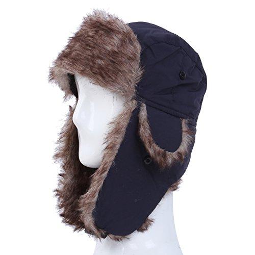 【ネイビー】ユニセックス 全11色 飛行帽 フェイクファー 防寒防風 ロシア軍 ドイツ軍 パイロット スキー (ネイビー)