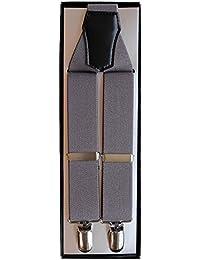 (ノムラ) NOMURA ダブルワン サスペンダー R 無地 グレー 3cm幅 男女兼用 日本製