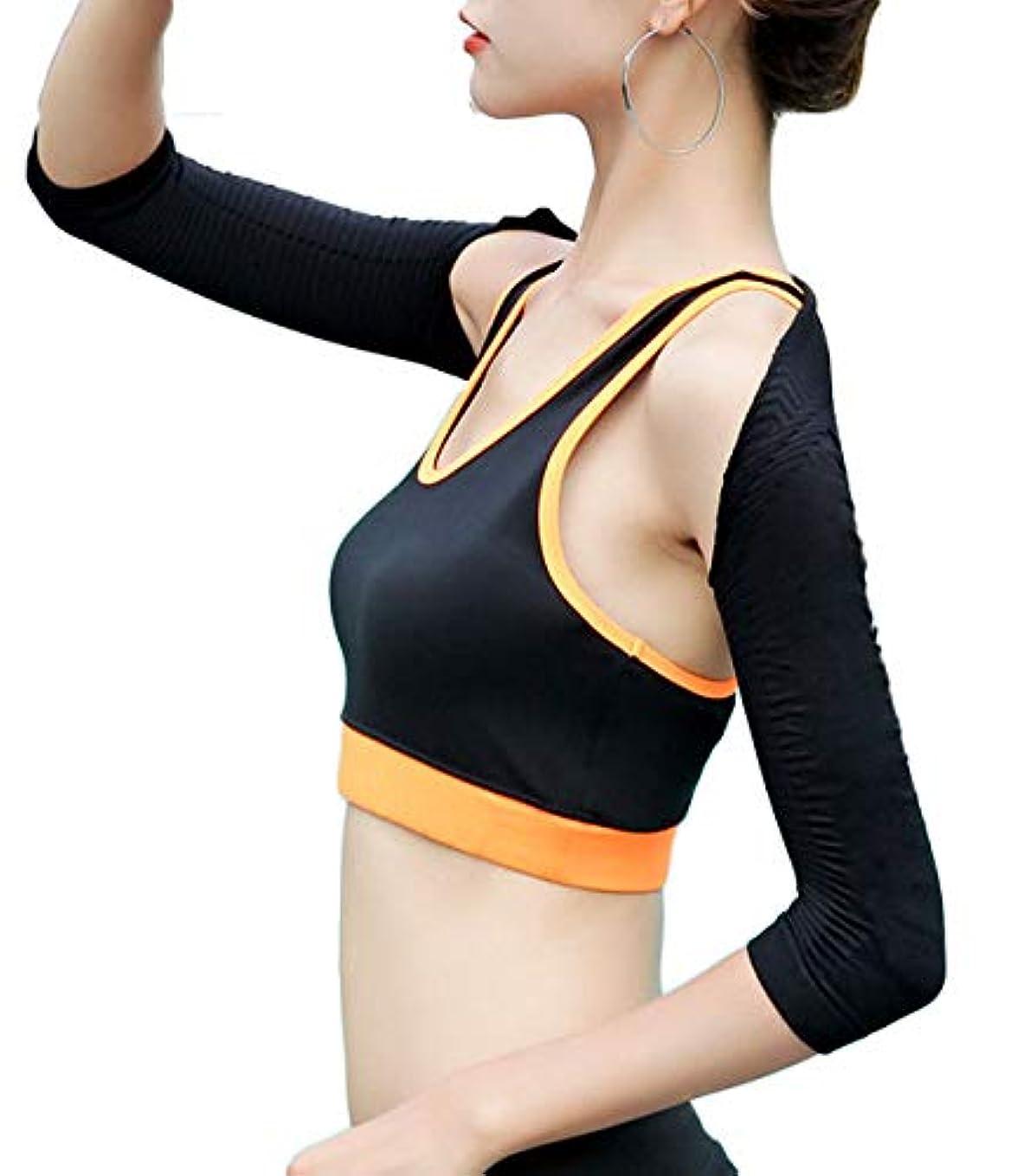 ホイットニー適用済みアパル二の腕 シェイプ 引き締め 加圧 着圧 着瘦せ 姿勢 矯正 補正 インナー 二の腕カバー トレーニング 通勤 ブラック-M