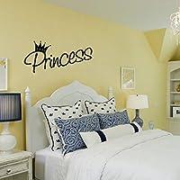 Xbwy クラウンパターンプリンセスウォールステッカー用美容ガール寝室の壁の装飾ビニールデカール壁紙家の装飾48×22センチ