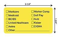 """Tabbies Insurance Labels, Fluorescent Chartreuse, 7.6cm - 0.6cm W x 2.5cm - 1.9cm H, INSURANCE OPTIONS"""" 250 Labels/Roll"""