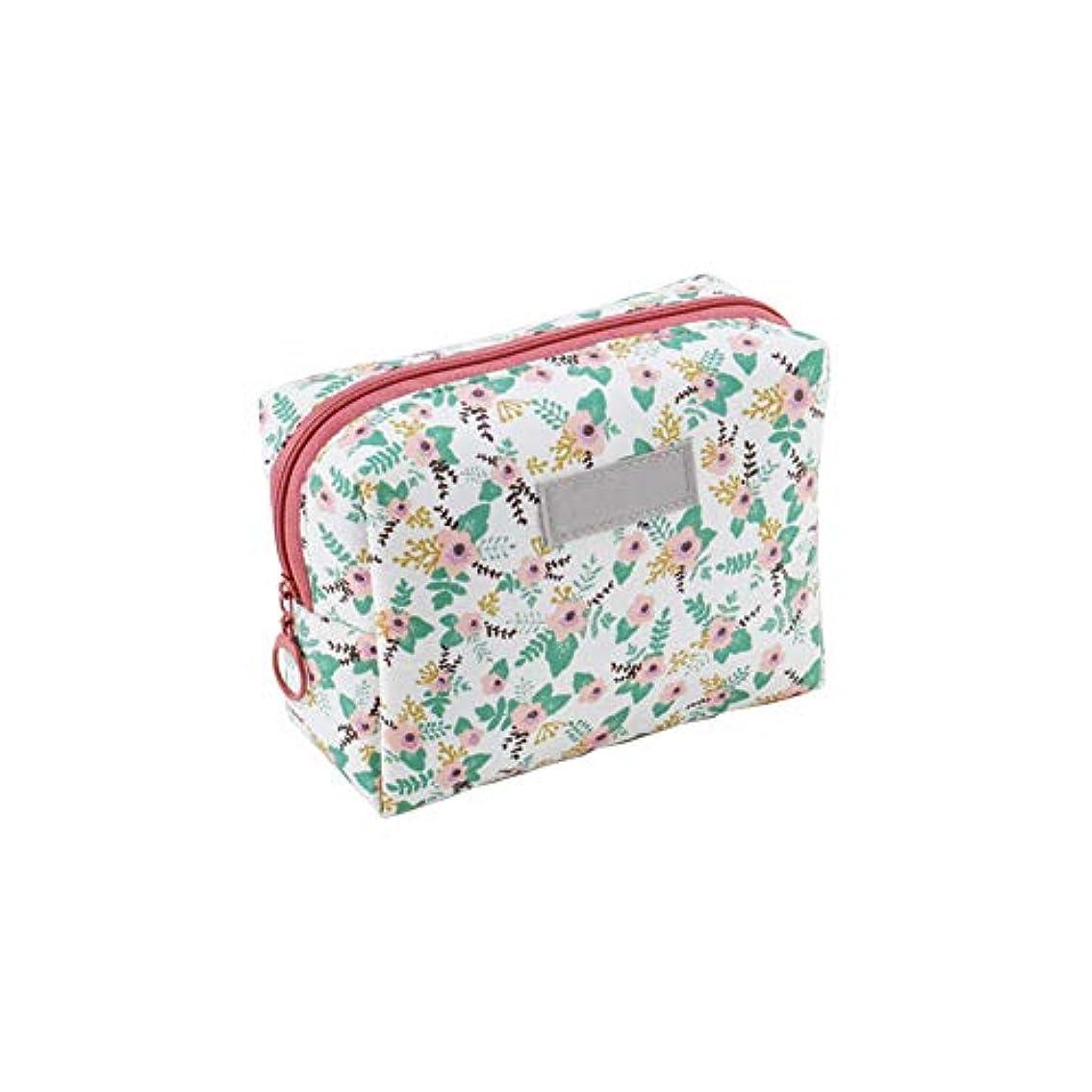 信頼できるおなかがすいた芽ポータブル手洗いバッグウォッシュバッグ旅行化粧品袋化粧バッグオーガナイザーさん男性(白、ピンクの花)