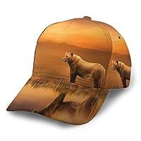 野球帽 ライオン夕暮れ水反射47 快適で通気性調節可能なサイズ男女兼用メンズ野球帽