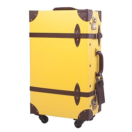 [OSJ]トランクケース スーツケース TSAロック 四輪 超軽量 キャリーケース 【復古主義】 SS型機内持込可 (M, イエロー&ブラウン)