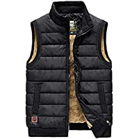WYQ- Vest Thickening Vest Men's Velvet Winter Down Vest Outdoor Jacket 5 Sizes and 4 Colors Keep Warm (Color : Black, Size : 5XL)