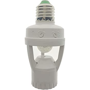 人感センサー付き E26口金 延長アダプタ PIR 誘導赤外線モーションセンサーバルブアダプタLEDランプベース プラグ ライトソケットLED電球 白熱灯 省エネランプ 電飾 360度プラグ AC110V 60W