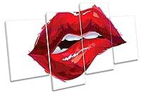 リップBite Kissファッションマルチキャンバス壁アートボックスフレーム印刷画像 120cm wide x 68cm high