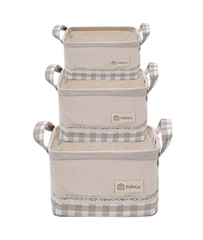 カバーストレージボックス、綿とリネン折り畳み式化粧品バッグ服アンダーウェアおもちゃ雑貨収納バスケット3つの20~38CM (色 : A)