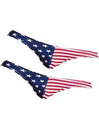 Homyl Tバック Gストリング ブリーフ ビキニ 下着 メンズ アメリカの旗柄 2枚セット
