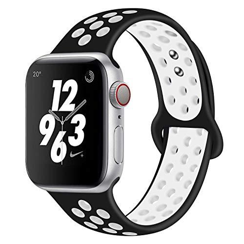 AIGENIU コンパチブル Apple Watch バンド、2個留め具の多空気穴通気性 シリコン スポーツ バンド Compatib...