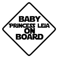 "Baby Princess Leia on board 6""ビニールステッカー車デカール ブラック SP-00697-B"