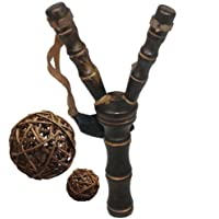 Wooden Crotch / Fork / Sling Shot with 6 Pieces Vine Balls Set (Chocolate) [並行輸入品]