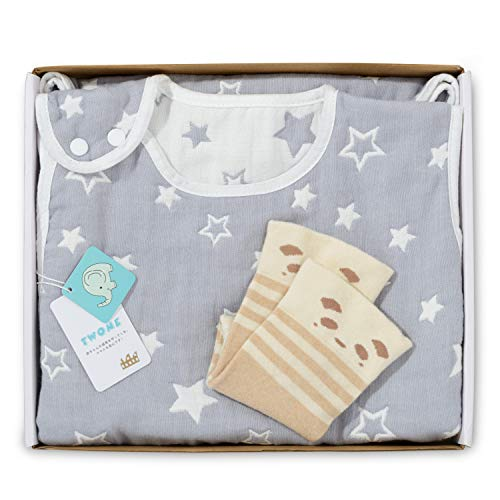 TWONE(トォネ)スリーパー ベビー 赤ちゃん 寝袋 6重ガーゼ 女の子 男の子 オーガニックコットン100% 柔らかく お昼寝 寝冷え防止 通気性 新生児~3歳まで 出産お祝い ギフト (グレー・ギフトセット)