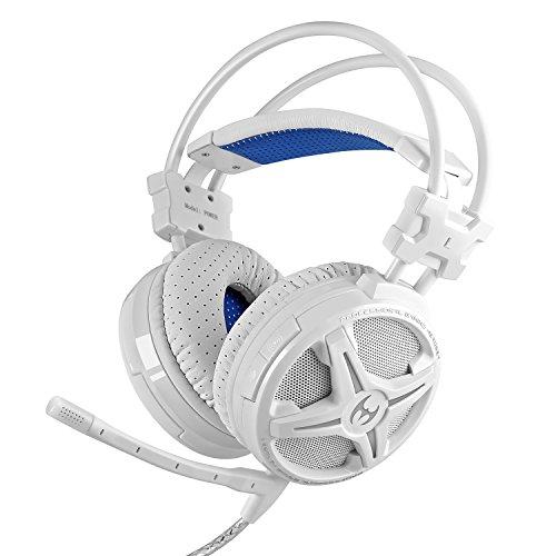 Mixcder Power ゲーミング ヘッドセット PC ゲーム用ヘッドフォン ヘッドホン USB Gaming Headset LEDライト マイク付き 重低音 騒音隔離 振動機能搭載(ホワイト)
