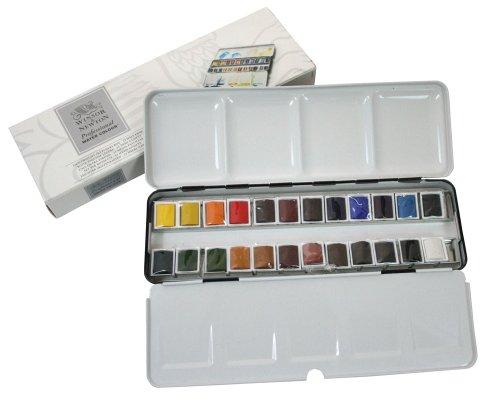 ウィンザー&ニュートン 水彩絵具 ウィンザー&ニュートン プロフェッショナル ウォーターカラー  24色セット ライトウェイト メタルボックスセット ハーフパン