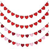 Tatuo 4セット バレンタインデー ハートバナー フェルトハートガーランド ホリデーハンギングデコレーション ウェディングパーティー 誕生日用品 マルチカラー Tatuo-Heart Banners-01