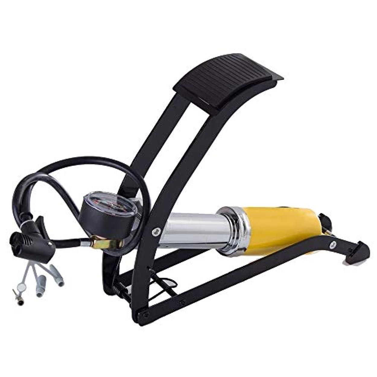 敷居メモ部自転車の空気入れ 自転車ポンプシングルピストンバイクのフットポンプ、正確な圧力計が付いている150PSIアルミニウムボディ弁のためのスマートな弁頭 早くて簡単 (色 : 黄, サイズ : 31cm)