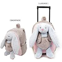 Funday 3-Way Toddler Backpack with Wheels - Little Kids Luggage with Stuffed Animal Toy Rabbit for Toddler Boys and Girls
