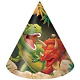 Club 96のパックDino Blast T - Rex and Triceratops Dinosaur Themed用紙誕生日パーティーHats