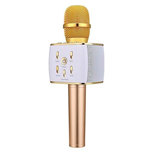 Verkstar Bluetooth カラオケマイクbluetooth microphone karaoke ワイヤレスマイク 高音質カラオケ機器 録音可能 USB充電式TFカード機能付き 忘年会/ホームパーティー/屋外適用 Android/iPhone/PCに対応 日本語説明書 & 1年保証付き(ゴールド)