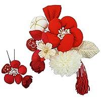 髪飾り 2点セット kk-080 赤 白 ホワイト レッド 花 かんざし つまみ細工 コーム型 振袖 成人式 卒業式 結婚式 七五三 袴 和装
