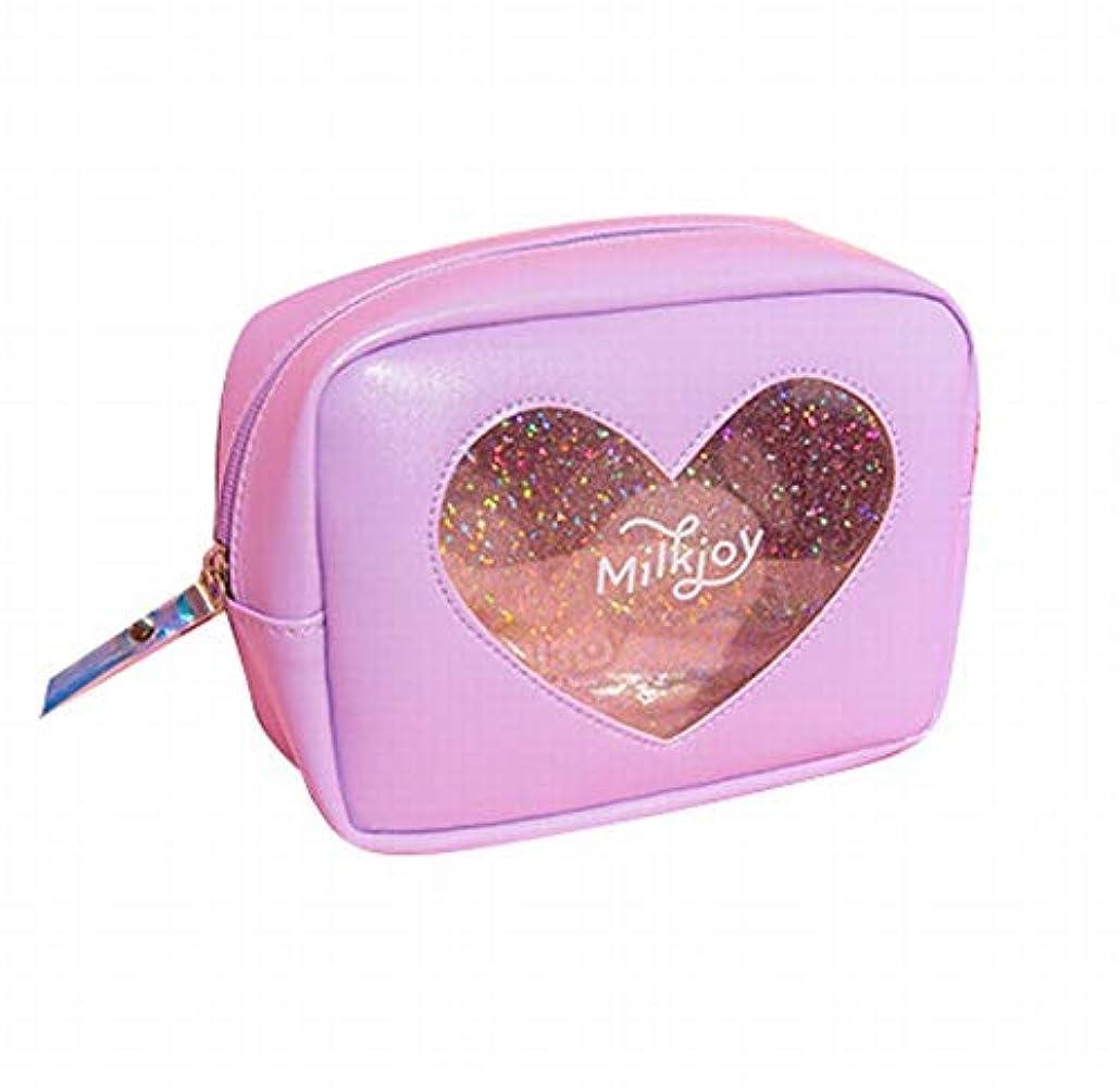 空計算するもSasuga 大容量 コスメ ポーチ 化粧品 小物 収納 小型 バッグ Heart 透明 窓 中身が見える (パープル)