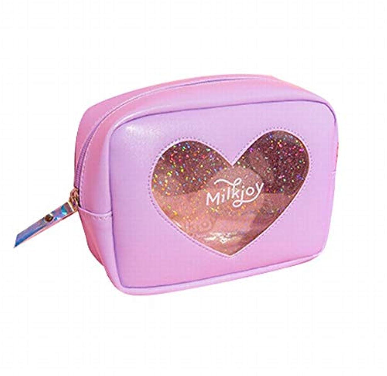 借りているアセンブリペルメルSasuga 大容量 コスメ ポーチ 化粧品 小物 収納 小型 バッグ Heart 透明 窓 中身が見える (パープル)