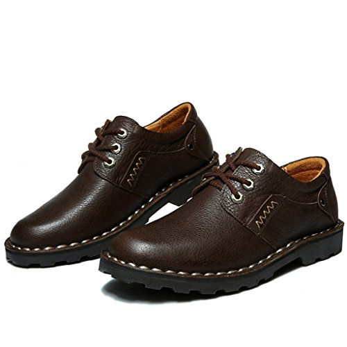 [Asagao]カジュアルシューズ メンズ  男 紳士 ビジネスシューズ 革靴 スキッドシューズ ローカット靴 レースアップ フラット 通勤通学 旅行出張 軽量 履き心地よい 小さい/大きいサイズ  26.5cm コーヒーイロ