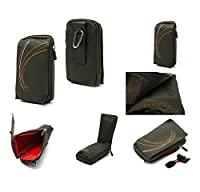 DFV mobile - Multi-functional Universal Vertical Stripes Pouch Bag Case Zipper Closing Carabiner for => MICROMAX CANVAS 4 A210 > GREEN (16 x 9.5 cm)