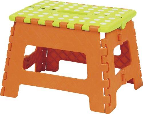 AZUMAYA クラスタースツール 折りたたみ式踏み台 Mサイズ オレンジ色 BLC-311OR