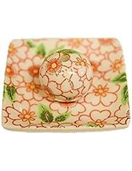 朱華柳 小角皿 日本製 製造 直売 美濃焼 お香立て 印判手 お香たて 陶器