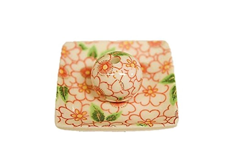 まばたき滝落とし穴朱華柳 小角皿 日本製 製造 直売 美濃焼 お香立て 印判手 お香たて 陶器
