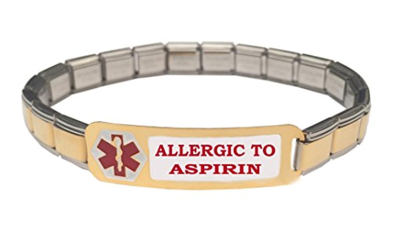 Allergic toアスピリン医療アラートステンレススチール9 mmイタリアチャームスターターブレスレット