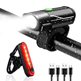 Waymine USB Rechargeable Waterproof Bicycle Light Set Cycling Front Light+Rear Light Mountain Road City Electric Bikes
