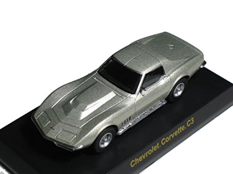 京商 1/64 USAスポーツカー ミニカーコレクション2 シボレー コルベット スティングレイ C3型 銀