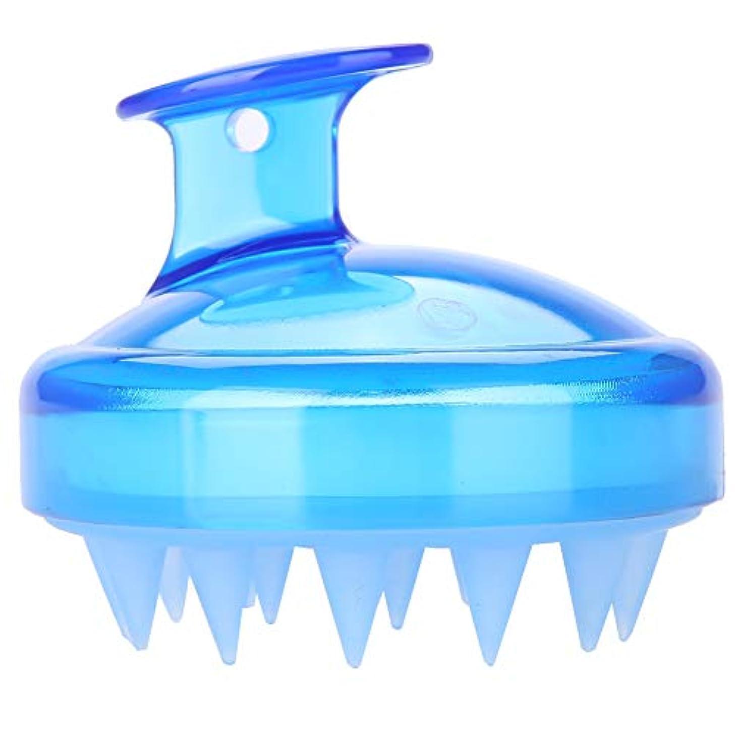 金銭的禁止押し下げる5色マッサージャーヘッド - スカルプマッサージャー、マッサージャーブラシヘッドシャンプー - ボディ洗浄マッサージャーのためのシャワーブラシ(青)