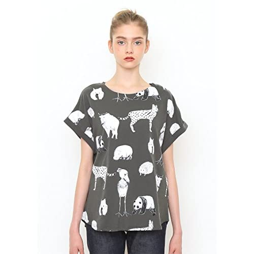 (グラニフ)graniph ロールアップ半袖TシャツB / ズーロジカルガーデンズ ( スミクロ ) Lady(F)