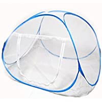 来慶(ライケイ) 小型蚊帳 ベビーベッド に最適 色んな部屋に 持ち運び 便利 軽量 コンパクト (ブルーライン)