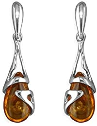 Amber Sterling Silver Earrings - Unusual Art Deco Amber Fancy Dangly Drop - For Amber Jewellery Lovers